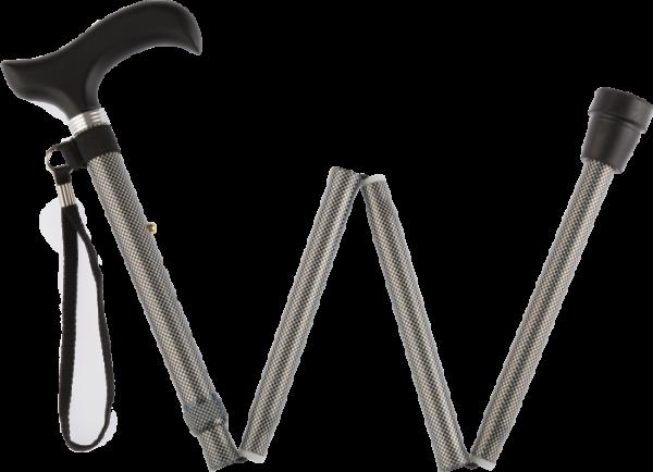 RUSSKA faltbarer Aluminium-Gehstock mit Derby-Griff